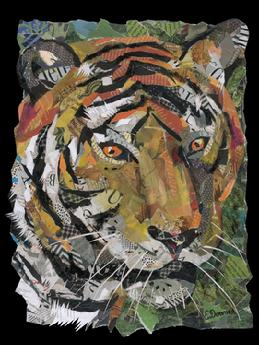 tiger collage painting