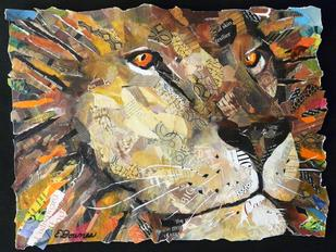 lion collage painting