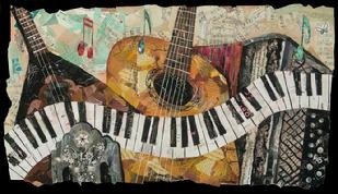 Music sacramento california torn paper collage eileen downes