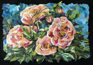 peonies flower collage torn paper art artist eileen downes sacramento california