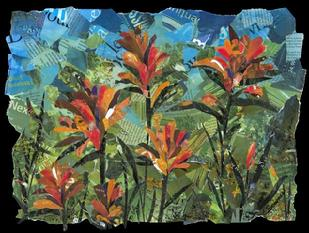 "Title: Red Indian Paintbrush - Corporate collection of Kaiser Permanente Hospitals Roseville Ca - Size: 18"" x 24"" - Medium: Collage"